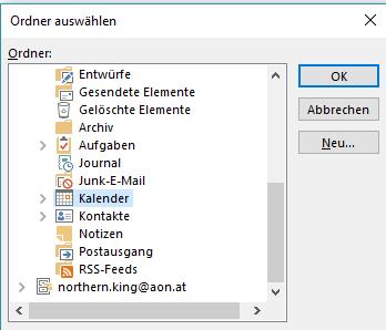 Outlook calendar folder
