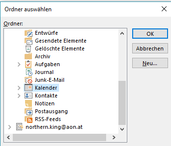 Outlook-Kalanderordner