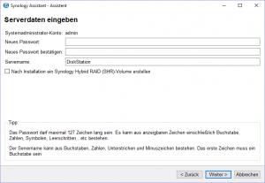 Admin-Zugang und DiskStation-Name