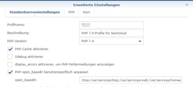 PHP-Version im PHP-Profil