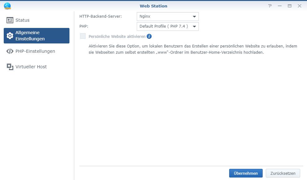 PHP Profil Webserver