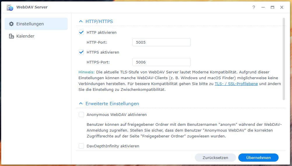 WebDAV-Server auf der DiskStation